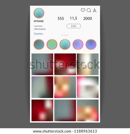 Instagram concept. Social Media interface. Photo frame vector for application. Web template.