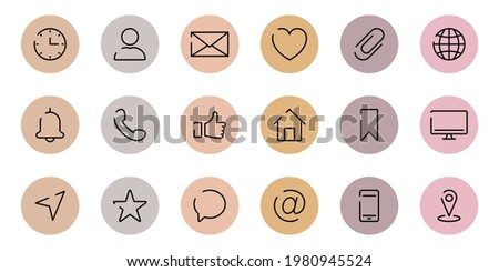 Instagram Highlights Cover Icons. Set of Website Contact Info Icons. Highlights Stories Covers Line Pictogram for Business Card. Editable stroke. Vector illustration.