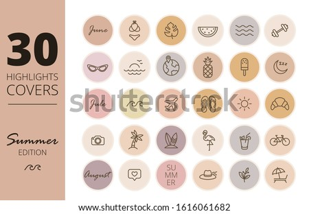 Instagram Highlights cover icons. Summer icons. Outline. Vector Stockfoto ©