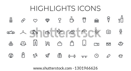 Instagram Highlights icon. Stories Covers line Icons. Perfect for bloggers. Set of 40 highlights covers. Fully editable vector file.