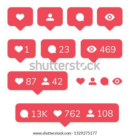 Instagram icons set. Like, comment, follower and notification Icons. Social Media concept for interface. Vector illustration isolated on white background