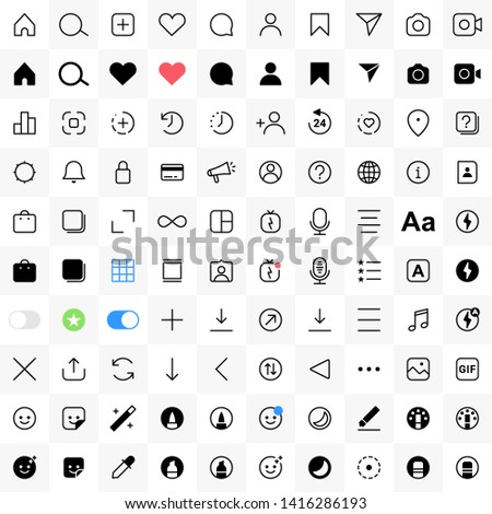 Instagram internet communication social media instagram icons. Vector interface illustration: option, settings, menu - Vector