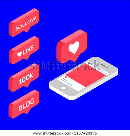 instagram like, isometric icon, 100k, follow, blog, pink 3d design illustration of the notification on the social media, iphone concept set, smm, manager, stories, target, bloggers, vector, EPS10