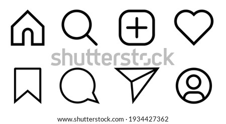 Instagram Media Icons. Like, Comment, Share, Save, Home, Search, Admin. Silhouette Flat Line Art Symbols. Web Flat Icon