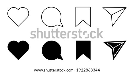 Instagram Media Icons. Like, Comment, Share, Save. Web Flat Icon