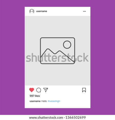 Instagram Post. Social Network Frame Vector Illustration