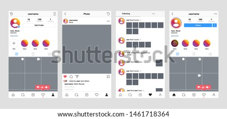 Instagram screen interface in social media application. Photo frame design app post template. Vector mock up illustration