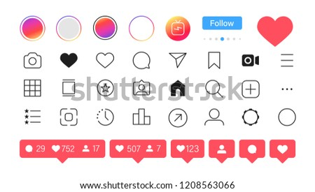 Instagram. Social media icon user. Stories user button, symbol, sign logo. Vector illustration.