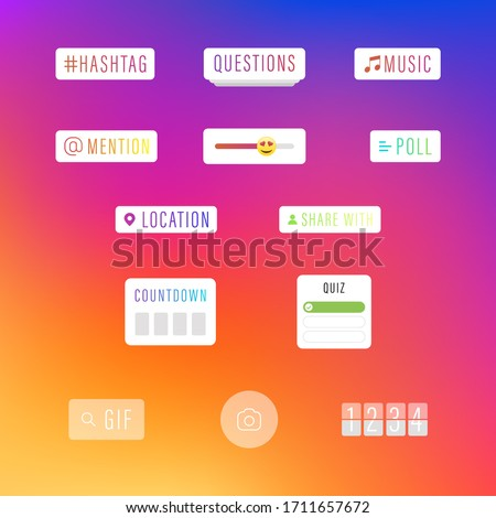 Instagram Social Media Interface Stickers, Stories Social Media Icons. Templates Stories, Hashtag, Polls, Emoji Slider, Countdown. Vector illustration. Instagram Gradient Background