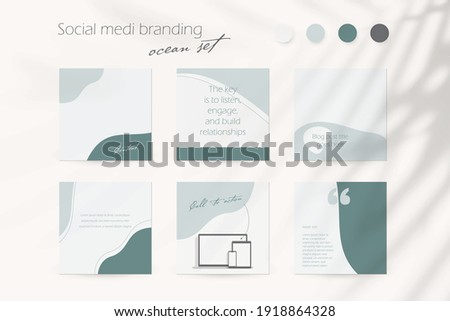 Instagram social media story post feed template background in ocean blue colors. banner mockup layout for travel, cosmetics, cosmetology, beauty, fashion, coach, spa, content