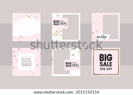 Instagram social media story post reel layout template. square frame app background in pink and gold glitter. banner for black Friday sale, special price, limited promotion for beauty, makeup, jewelry