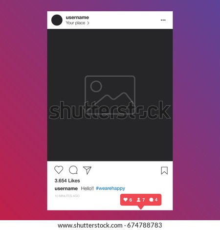 Instagram. Social network photo frame vector