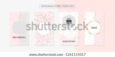 Instagram Stories Cool Vector Layout. Invitation Phone Design Pack. Social Media Blogger Frame Set. Trendy App Kit, Pink White Gold Elegant Geometric Marble Patterns. Instagram Stories VIP Layout
