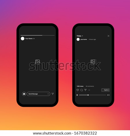 Instagram Stories. IGTV. Instagram Frame. Instagram Interface. Vector Illustration On Gradient Background