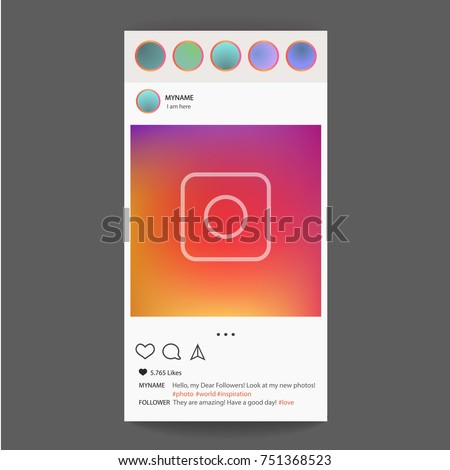 Instagram. Stories. Photo frame vector for application. Social Media concept and interface