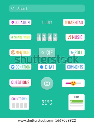 Instagram stories stickers camera interface photo frame design social media network post template. Stories interface display of mobile application. Vector mock up illustration