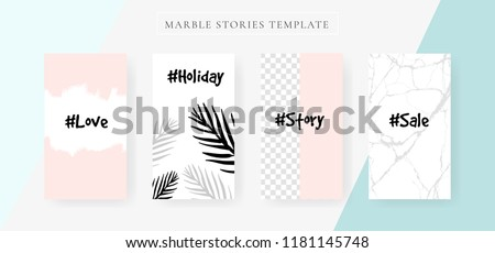 instagram Stories template with Marble and luxury decorative style design for fashion beauty, cosmetic and sale. Vector Illustration.