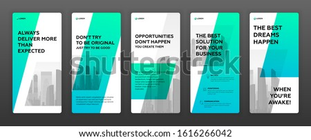 Instagram stories templates pack with cityscape vector illustration on background. Good for flyer, leaflet, booklet, roll-up banner, social media post, facebook story, presentation template.