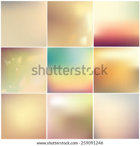 instagram style soft blurred abstract background set collection in subtle warm colors