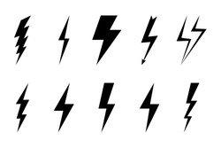 Install Lightning. Modern flat style vector illustration. Lightning bolt Lightning flash icon set. Flat style on a dark background. Vector