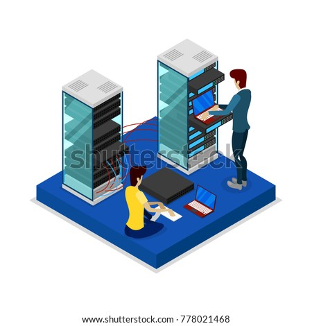 Installing and programing hardware in rack server isometric 3D icon. Data centre sign, internet network, cloud database, computer technology vector illustration.