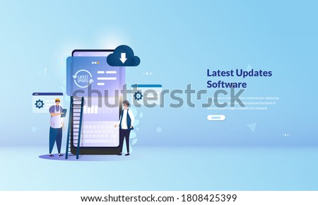 Installing the latest update software, Installing system updates on mobile application on illustration concept