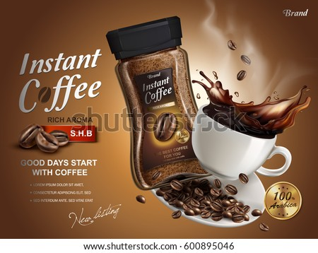 instant coffee ad, with coffee splash elements, brown background, 3d illustration