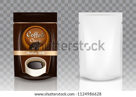 Instant coffee packaging bag flexible standing ziplock pouch mockup set. Vector realistic illustration isolated on transparent background.