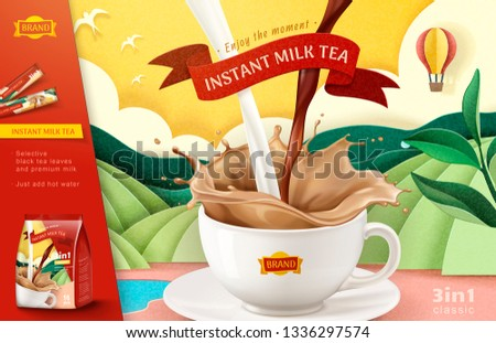 Instant milk tea ads on paper art terraced field background, 3d illustration