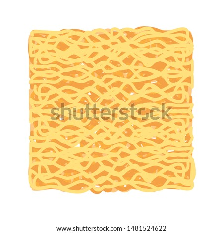 instant noodles cube isolated on white background, illustration ramen cubes or noodle for clip art, instant noodle rectangular block for fast food, ramen simple and flat drawing for icon infographics