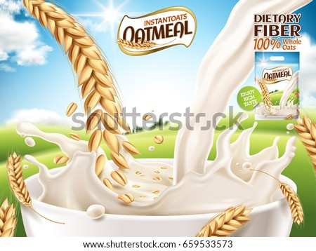 instant oatmeal ad, with milk and oat close up, open field background, 3d illustration