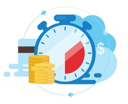 Instant payment flat vector illustration. Quick cash and credit loans services cartoon concept. Invoice payment terms. Time is money. Investment, deposit period isolated metaphor on white background