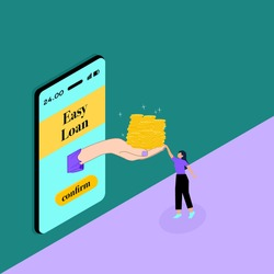 Instant Personal Loan, Quick and Easy Cash, Finance Services Concept. 3D Isometric Vector illustration.