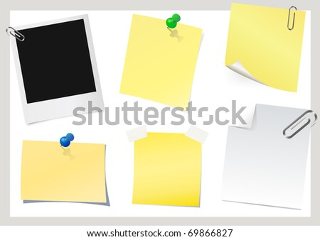 Instant photo and sticky note - stock vector