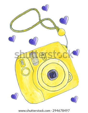 Instant photo camera. Hand-drawn camera. Real watercolor drawing. Vector illustration. Traced painting