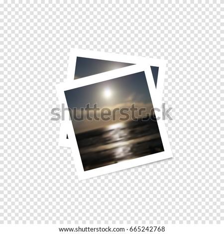 Instant photo with shadow on a transparent background. Photo frame, imitation polaroid photo.