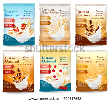 Instant porridge advert concept. Desing template. Vector