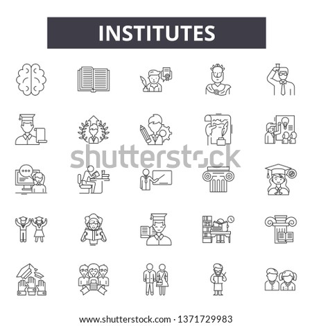 Institutes line icons, signs set, vector. Institutes outline concept, illustration: building,school,bank,college,university,institute,isolated