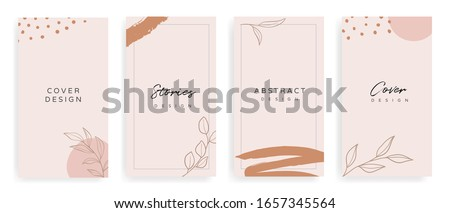 instragram stories and Main Feed cover.  Background template with copy space for text and images, Tropical line arts , floral and leaves in warm earth tone vector illustration. Stock photo ©
