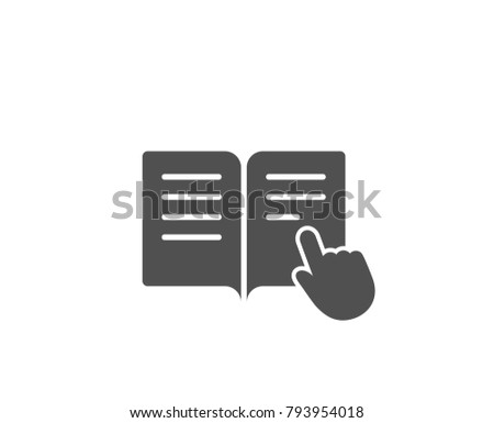 Instruction Book simple icon. Education with hand pointer symbol. E-learning sign. Quality design elements. Classic style. Vector
