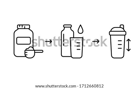 Instruction for making protein whey shake. Three steps to get finished cocktail from dry powder. Linear icon for packaging design. Contour isolated vector illustration for sports food for bodybuilding