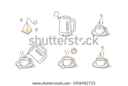 Instruction How to Brewing Tea Bag. Place Tea Bag in Cup, Add Boiling Water, Wait for few Minutes. Cooking Direction for Hot Drink. Flat Line Vector Illustration and Icons set. Photo stock ©