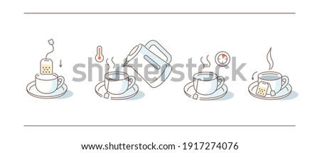 Instruction How to Brewing Tea Bag. Place Tea Bag in Cup, Add Boiling Water, Wait for few Minutes. Cooking Direction for Hot Drink. Flat Line Vector Illustration and Icons set.