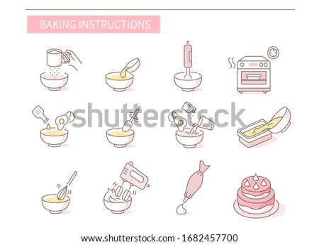 Instruction How to Prepare and Cook Dough and Cream for Pastry. Baking Ingredients and Food Preparation Symbols. Flour Dough, Cake and Biscuit Recipe. Flat Vector Illustration and Icons set.