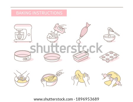 Instruction How to Prepare and Cook Dough for Bakery. Baking Ingredients, Utensil and Food Preparation Symbols. Dough Flour Recipe. Flat Vector Illustration and Icons set.