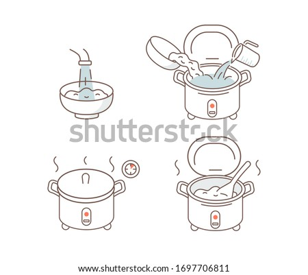 Instruction How to Prepare and Cook Rice in Rice Cooker. Cooking Directions. Rinse Rice through running Water, Place Grains in Pot and Cook on low Heat. Flat Vector Illustration and Icons set.