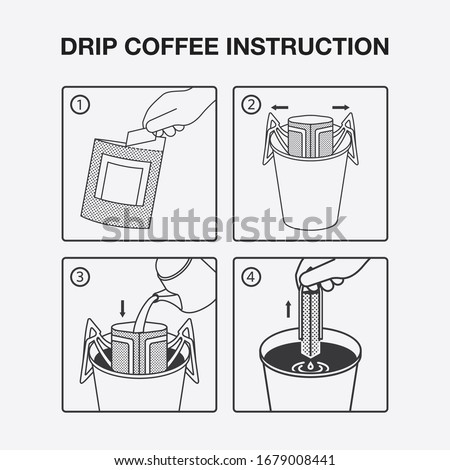 Instruction of dripped making coffee process Сток-фото ©
