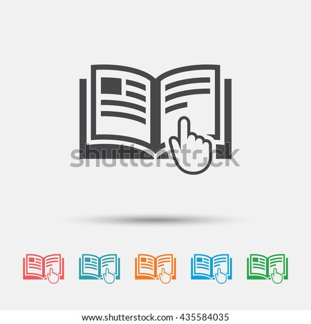 Instruction sign icon. Manual book symbol. Read before use. Graphic element on white background. Colour clean flat instructions icons. Vector