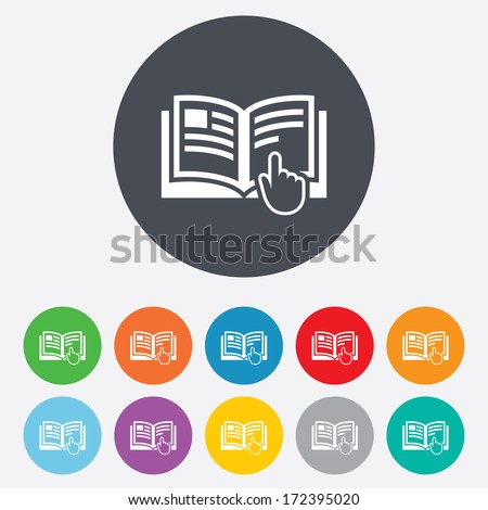 Instruction sign icon. Manual book symbol. Read before use. Round colourful 11 buttons. Vector