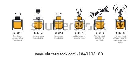 Instructions for a reed diffuser. Isolated icons on white background. Vector.  Stock foto ©